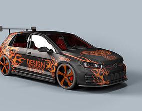 3D model racing car golf gti 2014