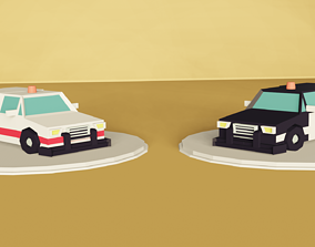 Lowpoly Ambulance and Police cars 3D asset