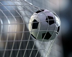 animated Soccer ball flying into goal net - Animated 3d 1