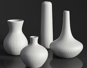 3D model RH MATTE WHITE GLASS VASE COLLECTION Set-02