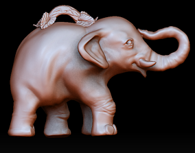 3D printable model Elephant pendant with branch