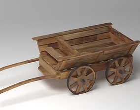 3D Old Wooden Cart PBR