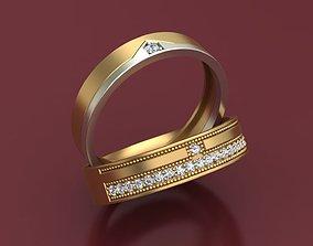 Wedding 3D Rings With Diamonds