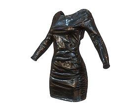 3D asset Shiny Black Dress