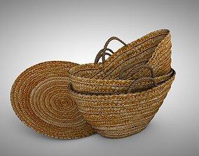 Old Palm Leaf Basket 3D