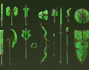 3D model Fantasy Jade Weapon Set