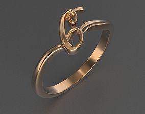 Ring C 3D printable model letter