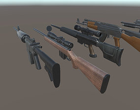 3D model Ak47 Bat Glock Grenade Knife M4 Molotov 2