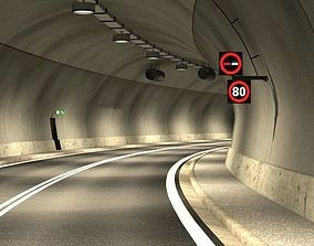 Tileable road tunnel 02 3D traffic