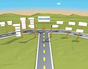 Cartoon Road Scene 3D model