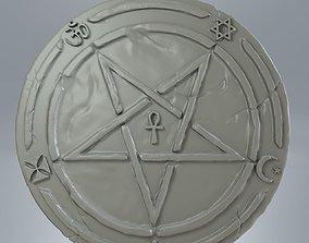 Medallion inverted pentagram detailed for 3d print