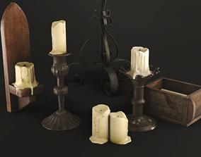 Medieval Candles Pack 3D model