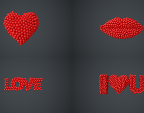 3D model heart - lips - love - I love you - animations