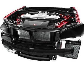 3D V8 Engine SUV Red Metallic