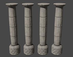 3D asset low-poly Stone column