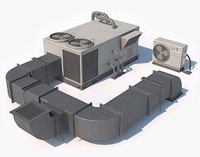 3D asset Rooftop AC Unit Low Poly