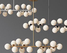 3D model Vintage Hanging Pendant Light White Glass Ball