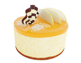 3D Cake with pear and coconut