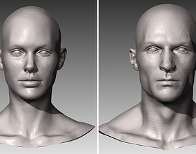 Realistic White Male and Female Head Bundle 3D