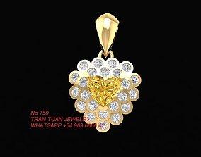 3D printable model 750 Diamond Heart Pendant