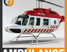 3D Helicopter Ambulance Bell 206L with Interior