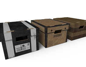 3D model game-ready Stationary Storage Boxes