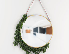 3D model Wall decoration mirror with leafs