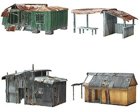 3D asset Shanty Town Buildings and Accessories
