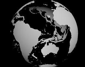 3D model hi-res polygonal earth continents