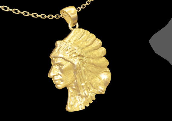 American Indian Sculpture pendant jewelry gold necklace 3D print model