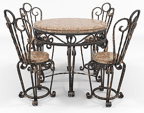 Forged table and chairs 3D asset