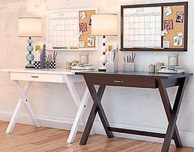 PBTEEN X Frame Desk with Decor Set 3D model