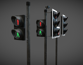 3D asset UK traffic Lights Low poly