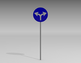 Turn left or right sign 3D