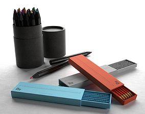3D model Paper Tube Box and Pencils