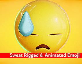 Animated Sweat Emoji Low Poly 3D asset