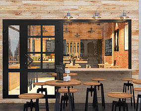 cafe with industrial style interior 3D model