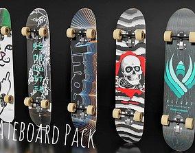 5 Skateboard Pack 3D asset