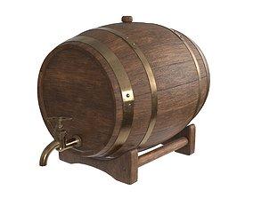 3D Wooden barrel for beer 01