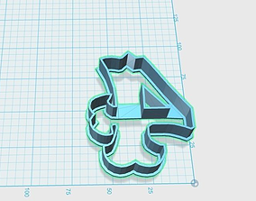 Vintage number 4 cookie cutter 3D printable model