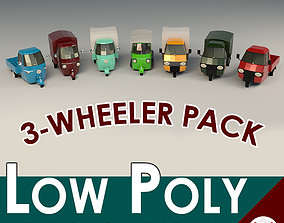 Low Poly Three-Wheeler Pack 3D