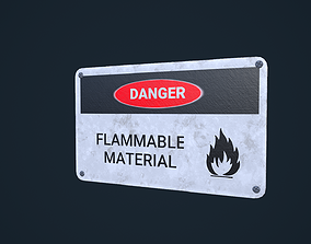 3D asset Danger Sign