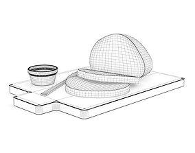 Bread on Cutting Board 3D model food