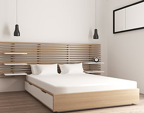 Wooden bed with pillows blanket headboard and storage 3D