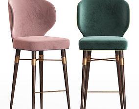 3D model Louis Mid Century Bar Chair by Ottiu