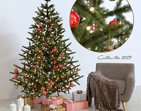 3D model Cristmas tree and armchair