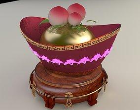 Chinese Gold Ingot 3D model dynasty