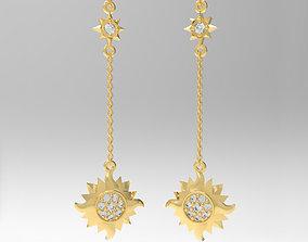 3D print model Sun and Stars Earrings