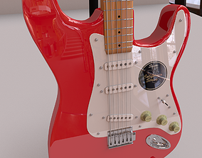Fender Guitar And Stand 3D model