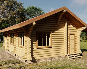 timber 3D One story log house 48 square meters